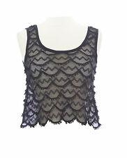 TOPSHOP Women`s Black Sheer Sleeveless Fishnet Cropped Top Size US 2 NWOT