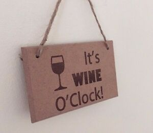Personalised Mothers Birthday Wood engraved plaque Wine oclock Present Christmas