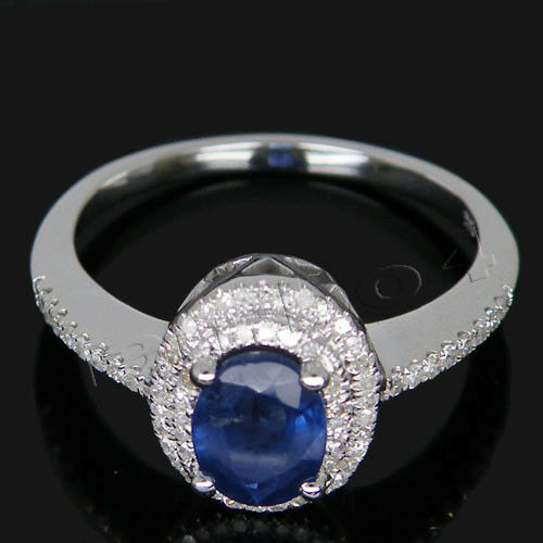 14k White gold Natural Diamond Oval 5x7mm Sapphire Engagement Wedding Gem Ring