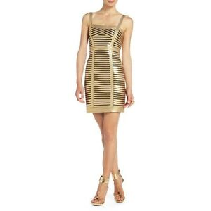NEW-BCBG-MAX-AZRIA-GOLD-PETITE-BERET-SLEEVELESS-COCKTAIL-IVS6S680-DRESS-SIZE-6P