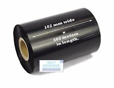 6 x 102mm x 360 Metre, Black, Wax Thermal transfer Ribbon, Zebra Compatible.