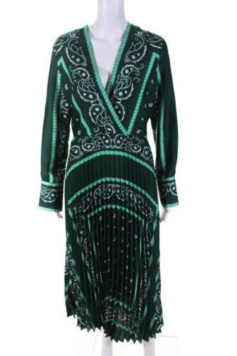Sandro Women's Long Sleeve V-Neck Shift Dress Gree