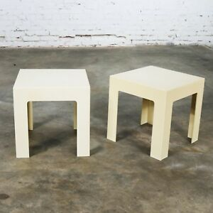 Image Is Loading Pair Plastic Parsons Side Tables Antique White Style