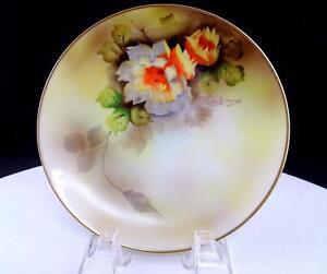"NORITAKE JAPAN SIGNED YELLOW & ORANGE FLORAL GILDED RIM 6 1/4"" SIDE PLATE"