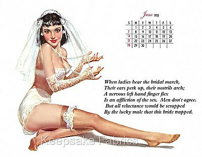 Pin Up Girl Calendar Bride Fabric Quilt Block Multi Szs