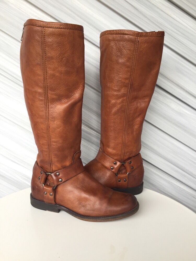 FRYE damen PHILIP HARNESS VINTAGE LEATHER TALL RIDING Stiefel COGNAC 6.5 EUC   368