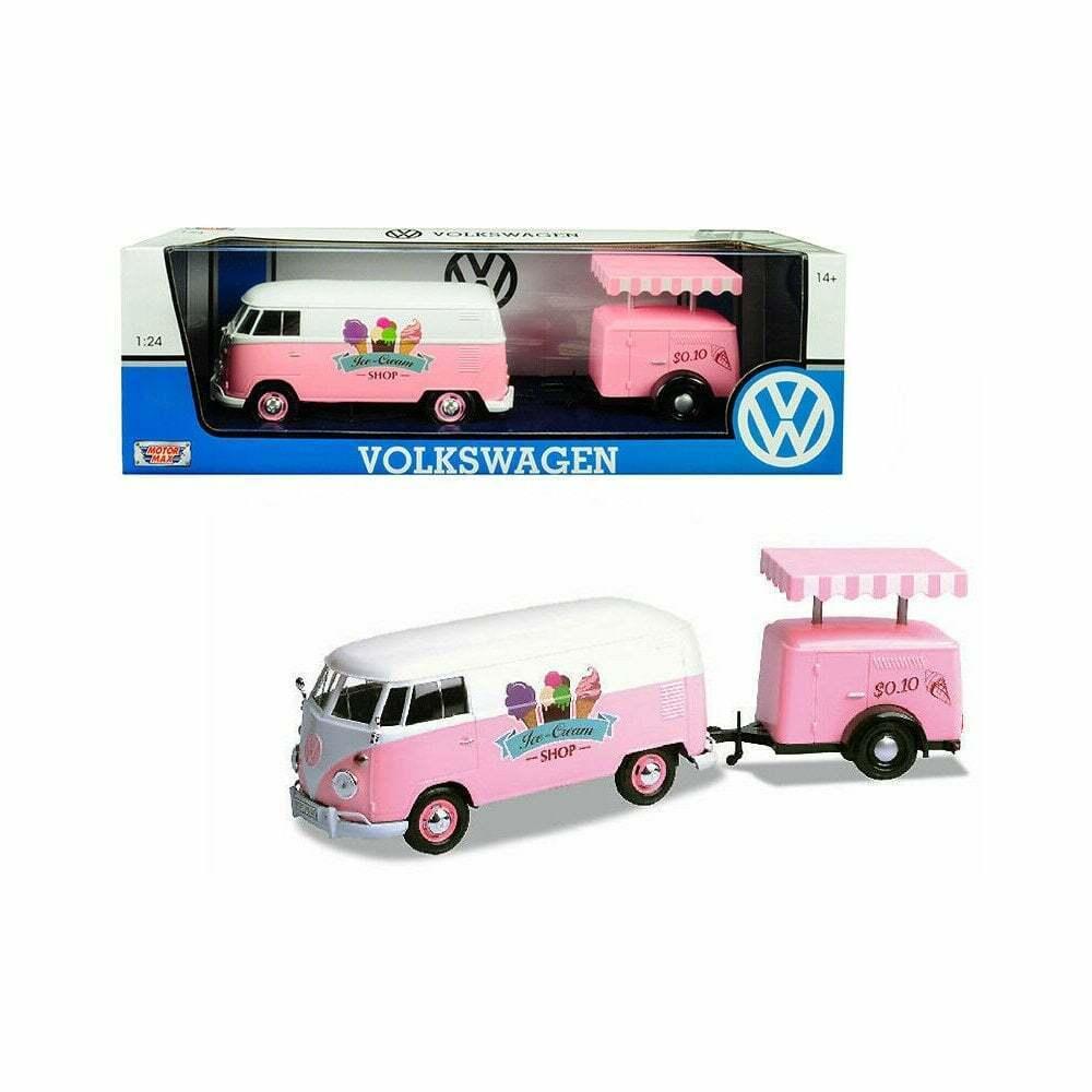 Motormax Volkswagen VW T2 van van van & Ice Cream Trailer  1 24  Pink 73c859