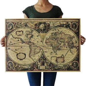 71x50cm-Retro-Vintage-Globe-Antigua-Mapa-Mundial-Marron-Mate-Papel-Poster