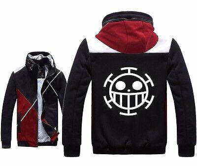 Anime One Piece Trafalgar D Water Law Cosplay Hoodies Fleece Zipper Black Jacket