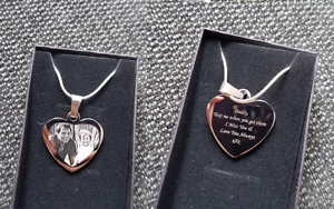 Customised Photo//Text Engraved Heart Necklace Pendant Wedding Birthday Gift.