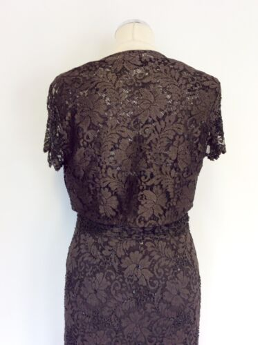 10 Lace Brown Dress Eight Dark Phase Beaded Sequined Taglia Bolero Jacket qPvRxtw