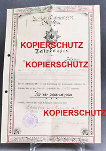Alte-Urkunde-Schuetzenabzeichen-Eisenbahn-Regiment-No-2-Berlin-1906-Garde