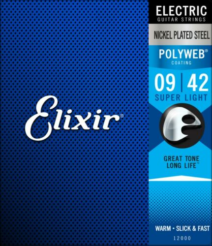 .042 anti-rust Elixir 12000 Polyweb Super Light Electric Guitar Strings 009