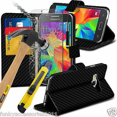 Leather Wallet Flip Book Stand Phone Case✔Tempered Glass LCD Screen Protector