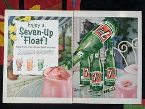 Large 1950s 7up Soda Pop Bottle Ad Enjoy A Seven-Up Float Ice Cream / spam jello
