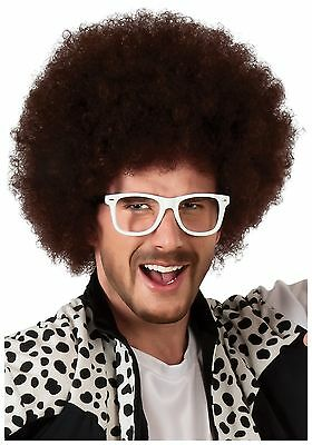 LMFAO REDFOO WIG Afro Brown Curly Hair Party Rock Sexy and I Know It 70s 60s CD