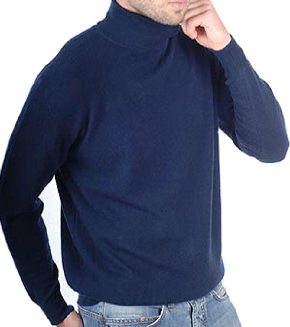 Balldiri 100% Cashmere Kaschmir Herren Rollkragen Pullover 2-fädig nachtblau XS