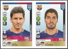 PANINI-2016 FIFA 365- #367-368-BARCELONA-LIONEL MEES-LUIS SUAREZ