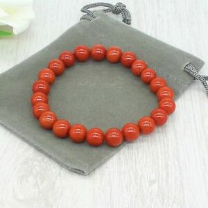 Handmade Natural Red Jasper Gemstone Stretch Bracelet & Velvet Pouch.