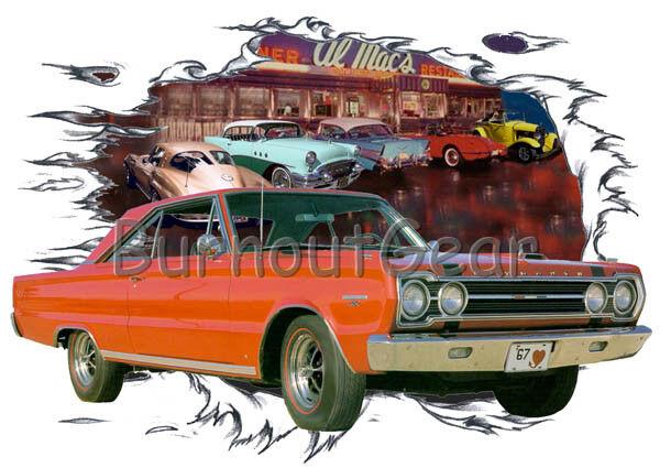 1967 ROT Plymouth GTX Custom Hot Rod Diner T-Shirt 67 Muscle Car Tees