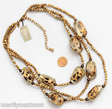 Chico's Signed Necklace Gorgeous Gold Tone & Chunky Leopard Beads NWT