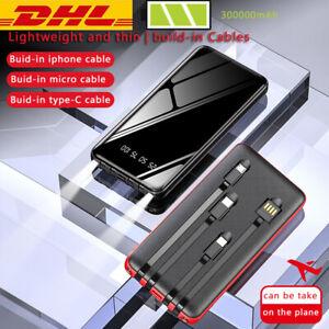 2020 300000mAh Powerbank Tragbar Externe Batterie Ladegerät Zusatz Akku 5USB LCD