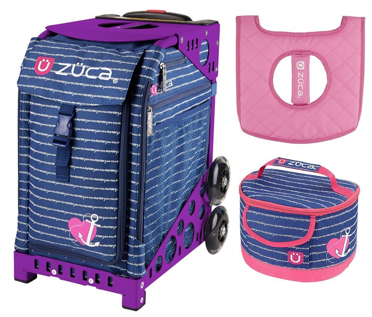Zuca Sport Bag - ANCHOR MY HEART  w GIFT Lunchbox and Seat Cover (Purple Frame)