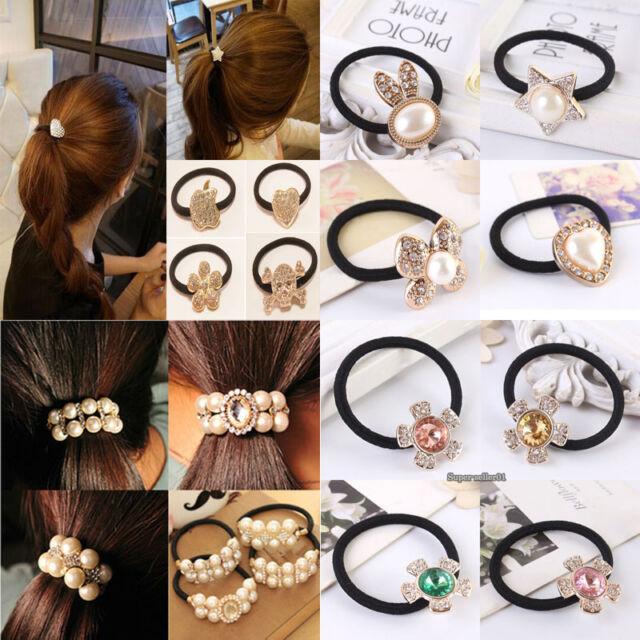 2Pcs Girl Crystal Rhinestone Pearl Hair Band Rope Ring Elastic Ponytail Bowknot