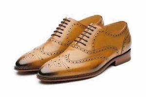 da scarpa realizzata mano brogue a uomo da Oxford classica Scarpa classica uomo Wingtip U60qP0f