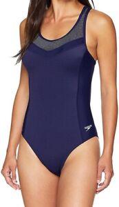 Speedo-Womens-Swimwear-Starry-Blue-Size-6-Endurance-Touchback-Swimsuit-78-023