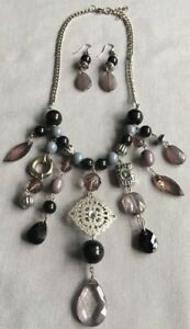 Statement-Piece-Necklace-And-Earring-Set-Purple-Black-Silver
