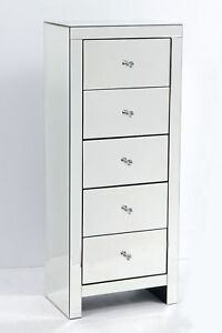 Details About Mirrored Bedroom Furniture Chest Of 5 Drawers Tallboy Tall Narrow Venetian