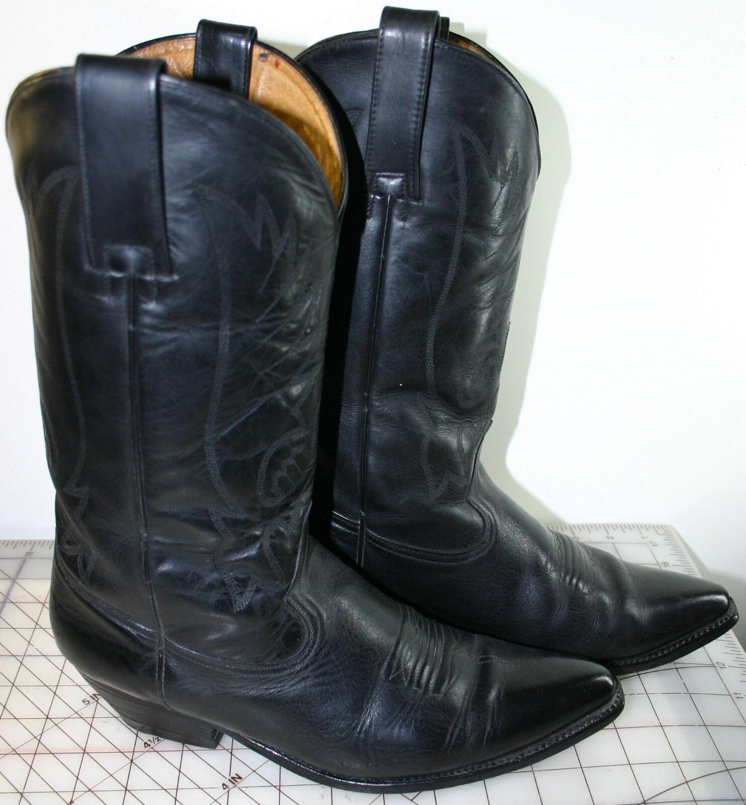 MEN'S BOOTS, PISTOLERO BLACK LEATHER COWBOY BOOTS, MEN'S 9.5 5f5a73