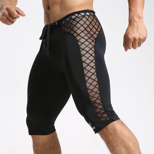Men Mesh Fitness Shorts Boxer Trunks Gym Panties Tights Splice Jogging Training