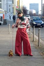 Hofeman Canvas Damen Hose lang rot high waist 90er True VINTAGE 90´s Bundhose