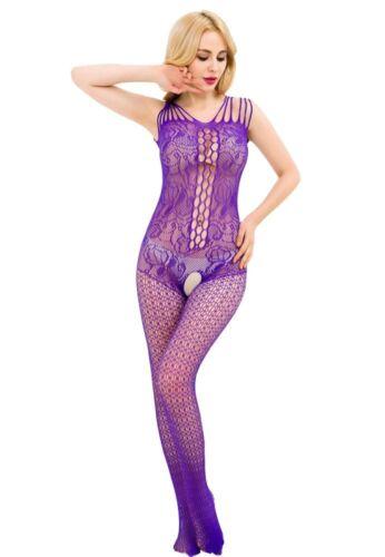 Damen Overall Nylon Catsuit Netz Body Stocking Spitze Dessous Gogo S//M//L
