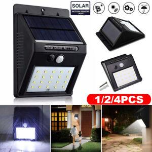 1//2//4x 30-120LED Solar Wall Lamp PIR Motion Sensor Waterproof Garden Path Light