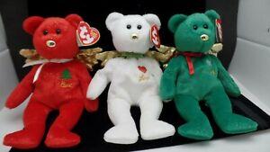 "Ty Beanie Babies Vintage Christmas Gift Angel Bears Love Peace Joy 9"" Set of 3"
