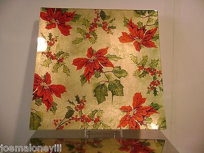 GLUCKSTEIN TABLETOP CHRISTMAS HOLIDAY GOLD GLASS POINSETTIA PLATTER DISH PLATE