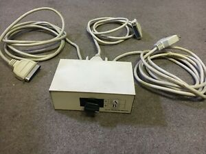 2 Port Data Transfer Switch A B 25 Pin Serial Parallel Printer W Cables Ebay
