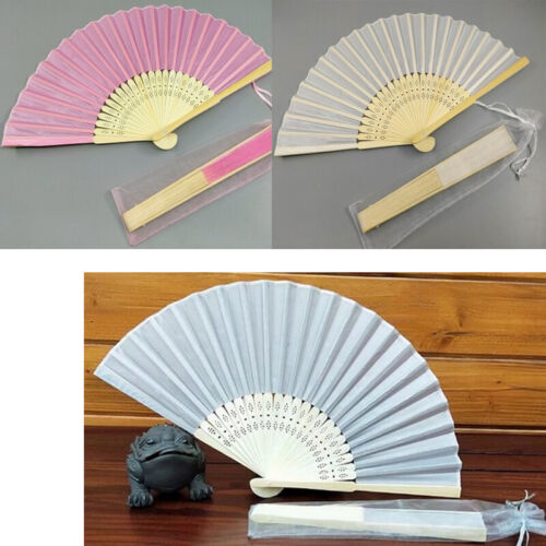 10 x Hand Fan Wooden and Fabric white pink Dance Play Party Gift Wedding Decor