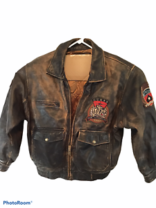 Vintage-Guess-Air-Command-1981-Leather-Bomber-Jacket-Flying-Aces-Large-L4