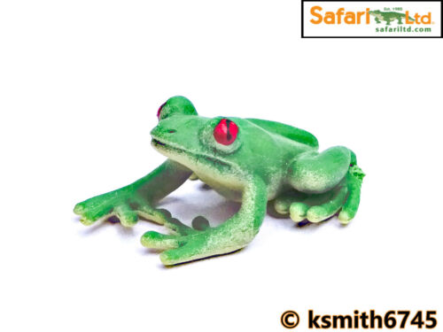 Safari 5 X MINI rana giocattolo di plastica solida Rainforest animale anfibio NUOVO