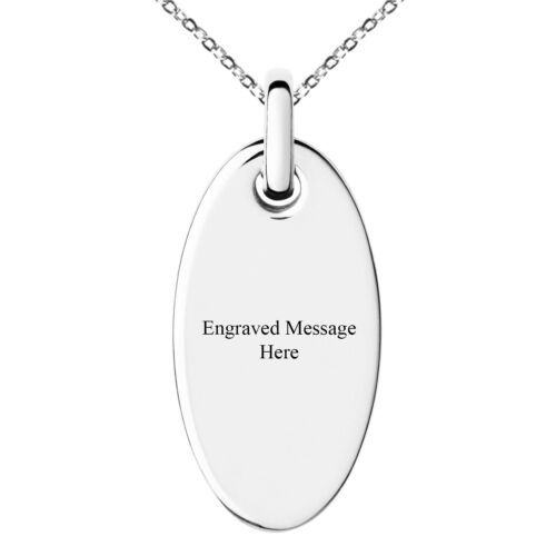 Stainless Steel Oval Charm Pendant NecklaceFREE ENGRAVING