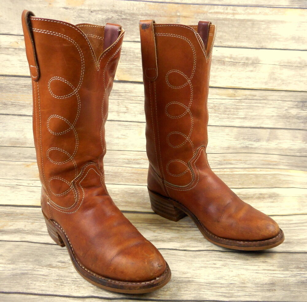 Mens 8 D Cowboy Boots Grunge Country Western Rockabilly shoes Vintage Rodeo Tan