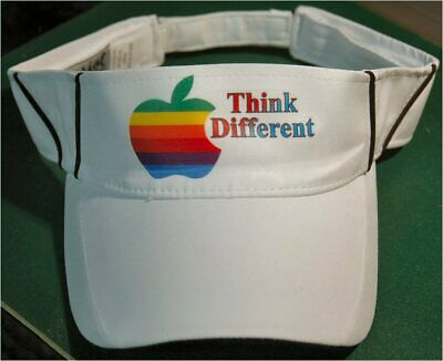 Apple Computer Rainbow Logo Think Different Hat BLACK LETTERS