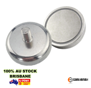 2x MALE Thread  25mm M5 Pull 22kg Shallow Pot MagnetsHeavy Duty Neodymium