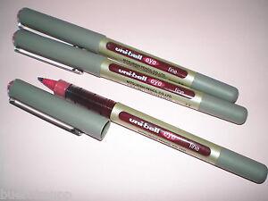 3x-Faber-Castell-Uniball-eye-fine-dunkel-rot-148126-UB-157-Tinten-Kugelschreiber