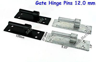 """Pair Hinge Pins 12.5mm 1/2"""" Pin -  Gate Band & Hook Hinges Galvanised or Black"""