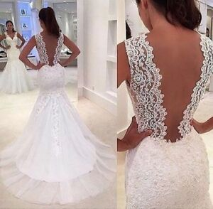 8ecfb5ed48 Image is loading New-Lace-Applique-Tulle-Mermaid-wedding-dress-open-